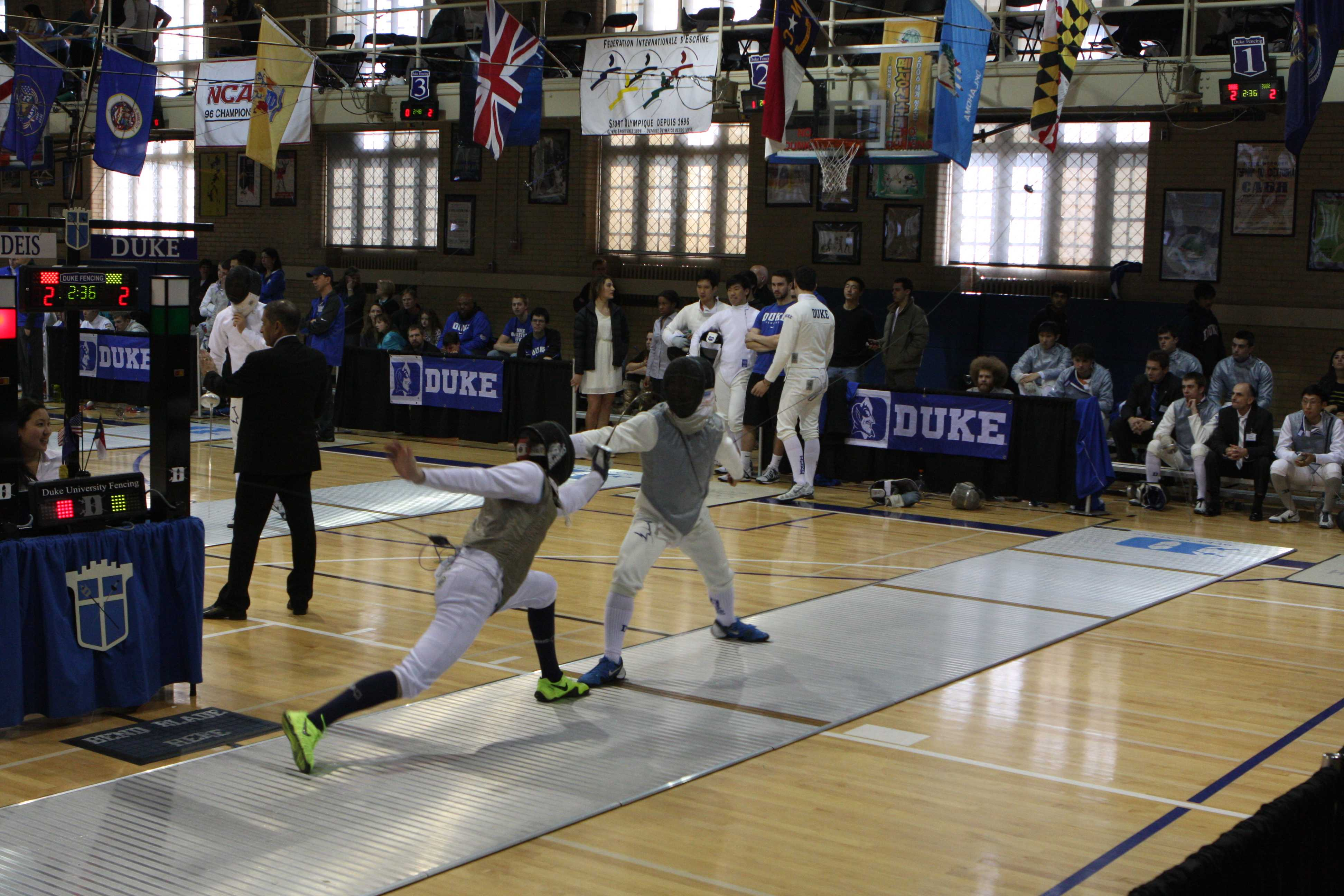 Noah Berman won a duel against an opponent from Duke University. Photo by Steven Berman.