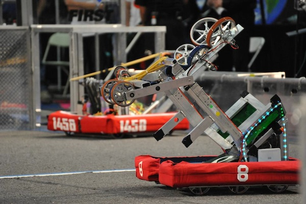 The Palo Alto High School robotics team robot rolls onto the competition arena. At the Silicon Valley Regionals, the team placed 22nd out of 59 teams.