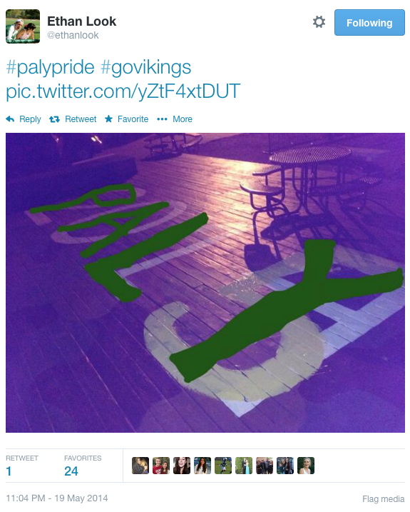 Senior Ethan Look tweeted an edited picture of the deck vandalism, adding 'PALY' over the '2014' to encourage school unity, he said. Photo courtesy of Ethan Look.