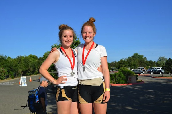 Paly senior Alex Warner (right) and her partner in the Norcal Women's Lightweight Double, Gunn senior Janet Titzler (left), smile with their medals after placing second in the U.S. Rowing Southwest Regional Championships on May 4th. The duo will advance to the U.S. Rowing Junior National Championships this June.