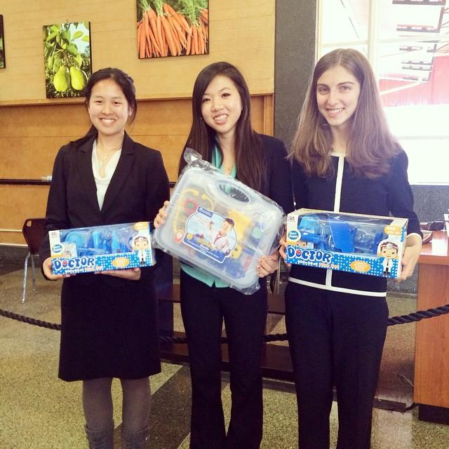 "Palo Alto High School junior Anna Lu (center) won the Saint Francis High School debate tournament this weekend. Lu and the second and third speakers received medical kits for trophies as a play on their debate topic of organ procurement. ""What was really interesting about the tournament was that they didn't give us trophies for speaker awards, but gave us medical kits instead since the topic was about organ procurement,"" Lu said. Photo courtesy of Anna Lu."