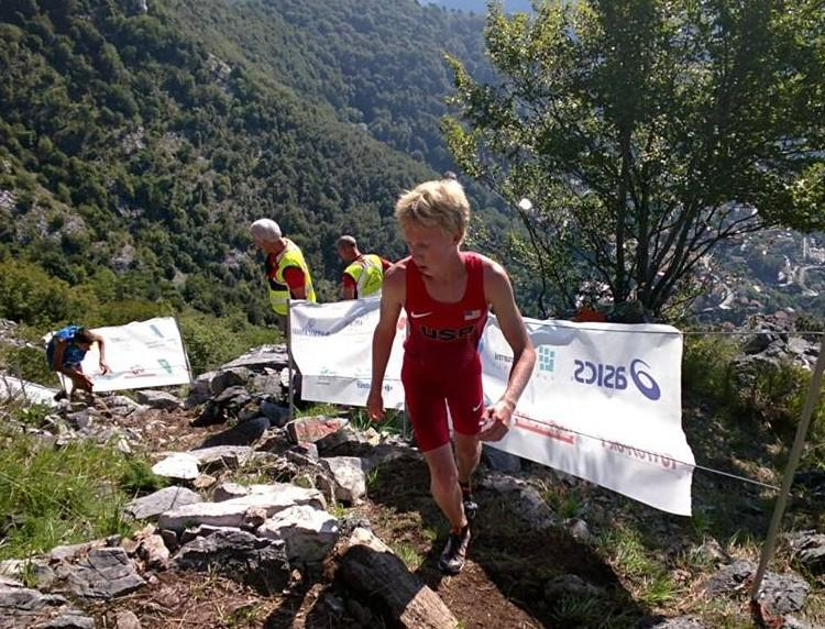 (Paly senior Lucas Matison makes his way up a mountain during the World Mountain Running Championships in Italy last week. Matison finished in 18th place out of 70 competitors in the 16-19 year old age group. Photo by Richard Bolt).