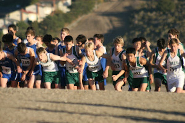 The boys cross-country team starts its SCVAL championship race last season at Crystal Springs. The track is 2.95 miles.