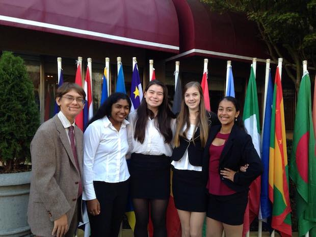 """MUN club members smile at the San Francisco State University conference earlier this year. """"We don't necessarily go for awards. We do it because we are interested in the issues and international relations,"""" MUN vice president Eli Frankel said. """"But if we win awards that's great."""" Photo Courtesy of Anmol Nagar."""