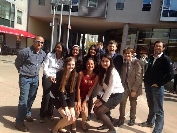 """Members of the Palo Alto High School Model United Nations club pose at their first conference  of the year at San Francisco State University. Photo Courtesy of Anmol Nagar. """"Our club [MUN] has been working hard researching and the leadership has been preparing since last year so we expect this year to improve a lot as a club.,"""" MUN member sophomore Mary McNamara said."""