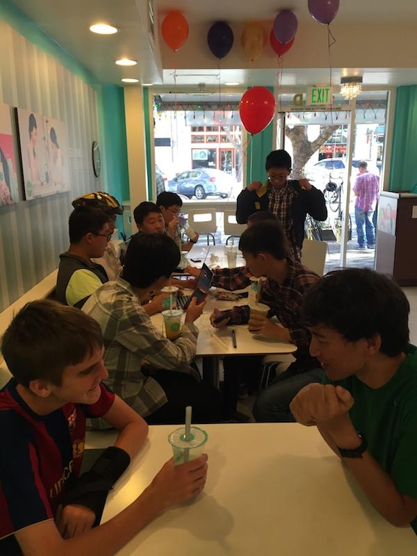 Many Palo Alto High School students visited T4 for it's grand opening. Palo Alto has never had as good PMT as Mountain View, so Paly students are excited to taste T4. Photo by Alex Merkle-Raymond