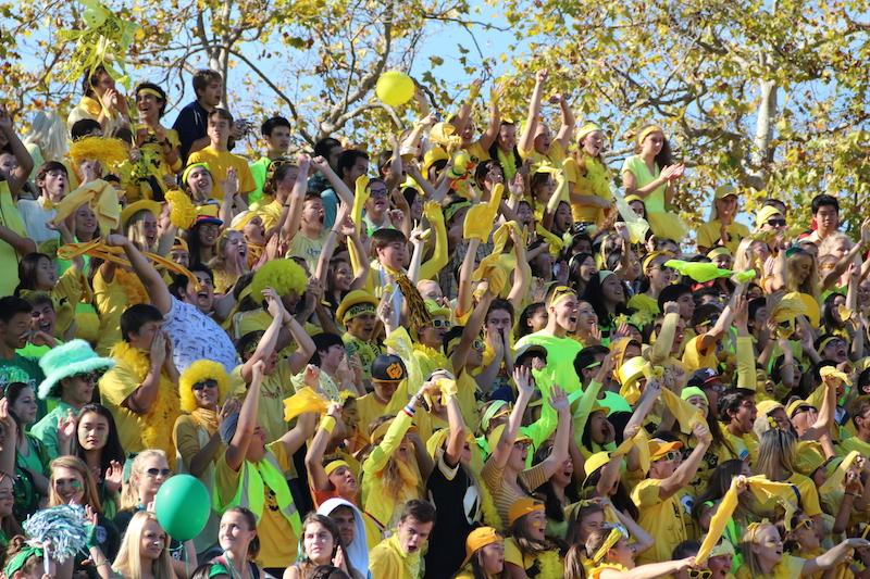 The junior class erupts and waves rally rags after winning the lunch rally event. Photo by Amy Leung.