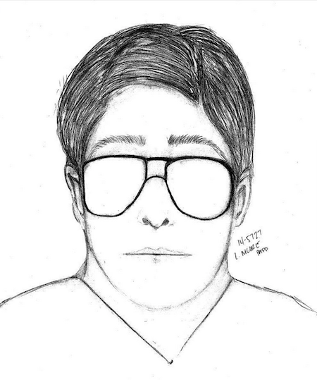 A PAPD sketch of the flasher, as described by the 14-year-old female victim. Screenshot by Amy Leung.