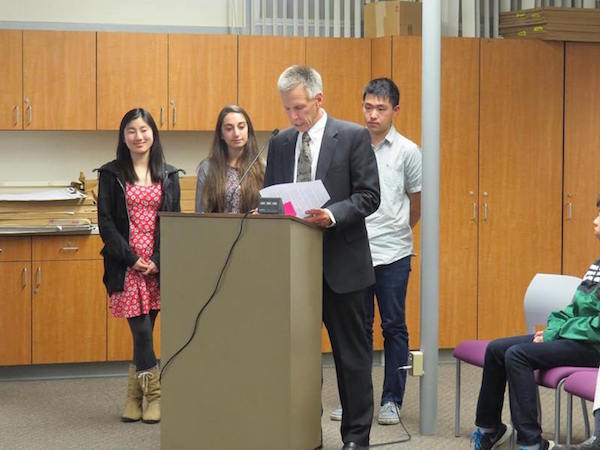 Superintendent Max McGee commends students on their hard work for the Siemens Competition. Photo courtesy of Simon Bloch.