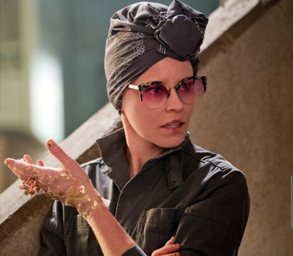 Effie (Elizabeth Banks), Katniss' escort from the capitol, goes through a makeup and wig withdrawal while living in militaristic District 13. However, she is is still able to keep a few accessories from her past as well as her lofty attitude. Photo courtesy of Lionsgate Entertainment.