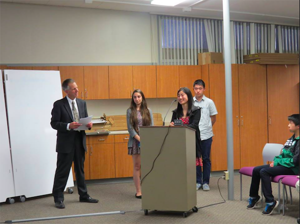 Paly and Gunn students speak about their submissions to the Siemens Competition. Photo courtesy of Simon Bloch.