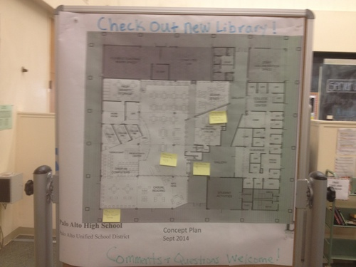 A board in the library shows the floor plan of the new library. Photo by Will Zhou.