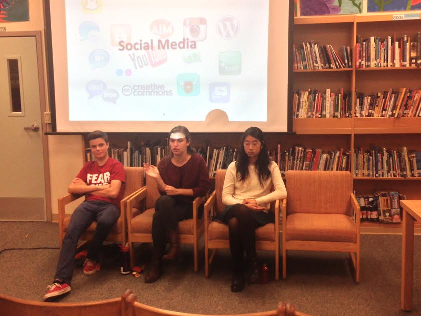 Paly students Johnny Rohrbach, Alex Merkle-Raymond and Kelly Shi speak about the impacts of social media on Palo Alto teens. Photo by Ido Gal.