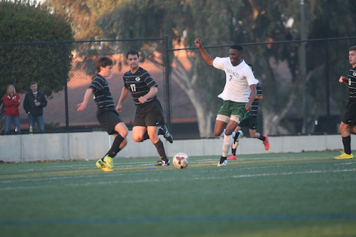 Bolarinwa dribbles the ball towards the goal. Bolarinwa made one goal. Photo by Saba Moussavian
