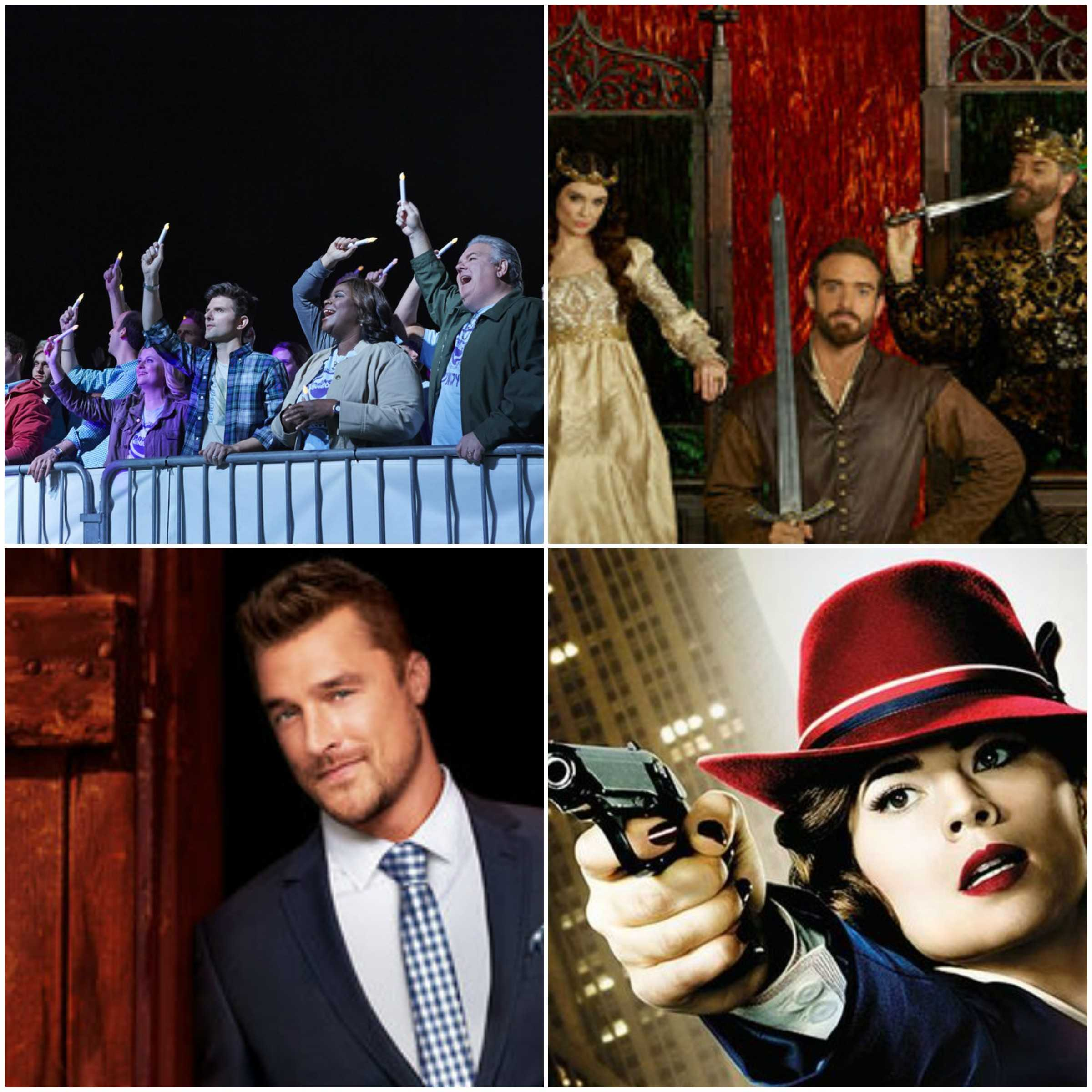 These four photos show the following upcoming winter tv shows. From left to right we have Parks and Recreations, Galavant, The Bachelor, and Agent Carter. Photos are courtesy of ABC: American Broadcasting Company and NBC universal.