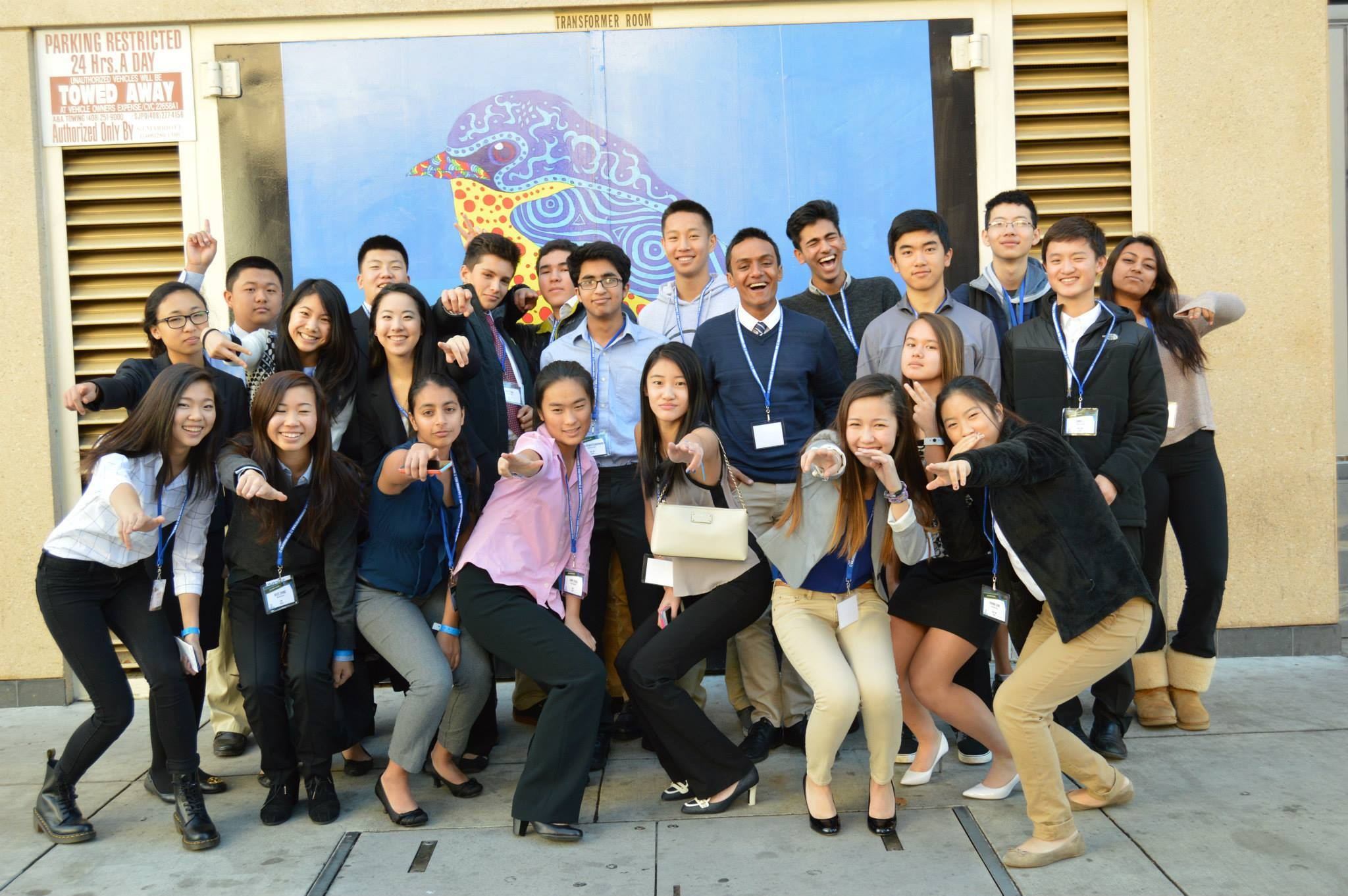 Paly DECA members pose for a picture at the Silicon Valley DECA regional competition. Photo by Alice Zhao