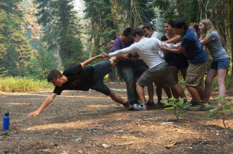 Students of Middle College participate in activities designed to strengthen teamwork on a group field trip to Yosemite. Photo courtesy of Shira Pederson.