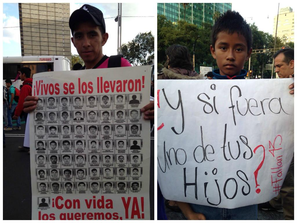 Photo of a man and a young boy in Ayotzinapa protests.