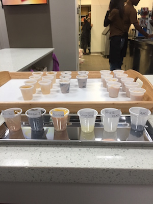 An array of possible additions is on display at Gong Cha currently. There are also samples of puddings and jellies for the customers to experience the flavors without committing to a full drink. Photo by Alex Merkle-Raymond