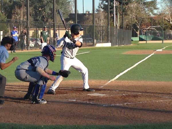 Junior catcher Lawrence Han goes up to bat against St. Ignatius High School. Paly defeated St. Ignatius 6-3. Photo by Amy Leung.