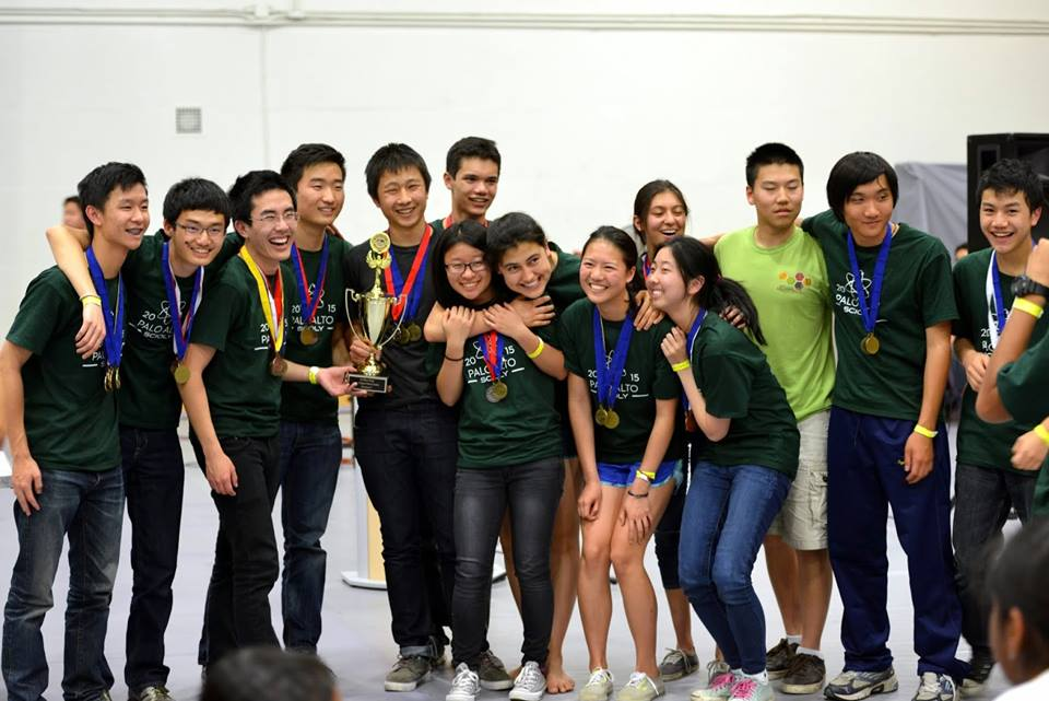 The Palo Alto High School Science Olympiad team members pose with their medals as they celebrate their win at the Santa Clara Regionals. Photo by Horace Meng.