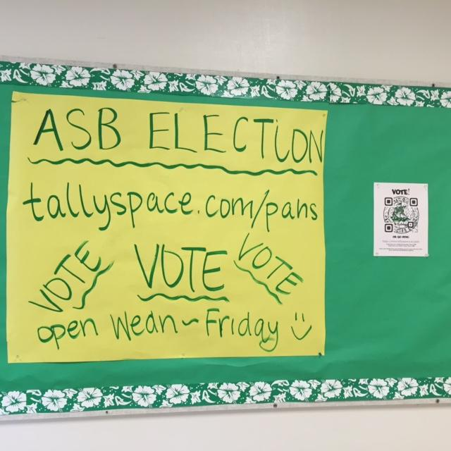 Students can vote for ASB candidates starting Wednesday morning at www.tallyspace.com/pahs. Students can also scan the QPR codes posted throughout the school to access the website. Photo by Dhara Yu.