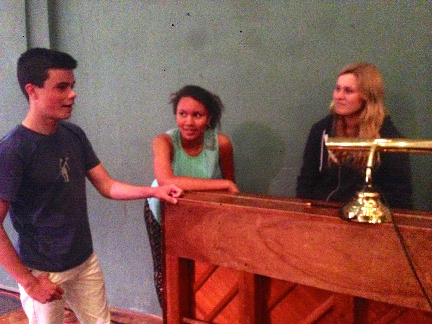 Sophomores Johnny Rohrbach and Nadia Leinhos and junior Lana Graves rehearse for an Paly production. They will be performing at the 2015 California State Thespian Festival later this month.