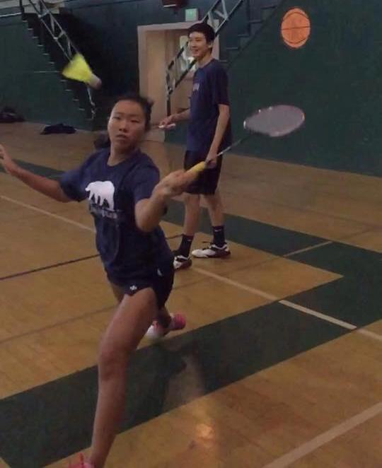 Freshman Jackie Cai works hard in badminton practice. Photo courtesy of Joseph Chang.