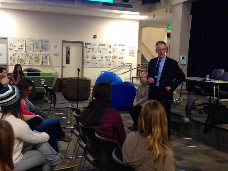PAUSD Supt. Max McGee gives an opening remark in front of students, staff and parents which totaled less than 25 at the Student Forum at 7:00 p.m. Thursday night in the Media Arts Center.