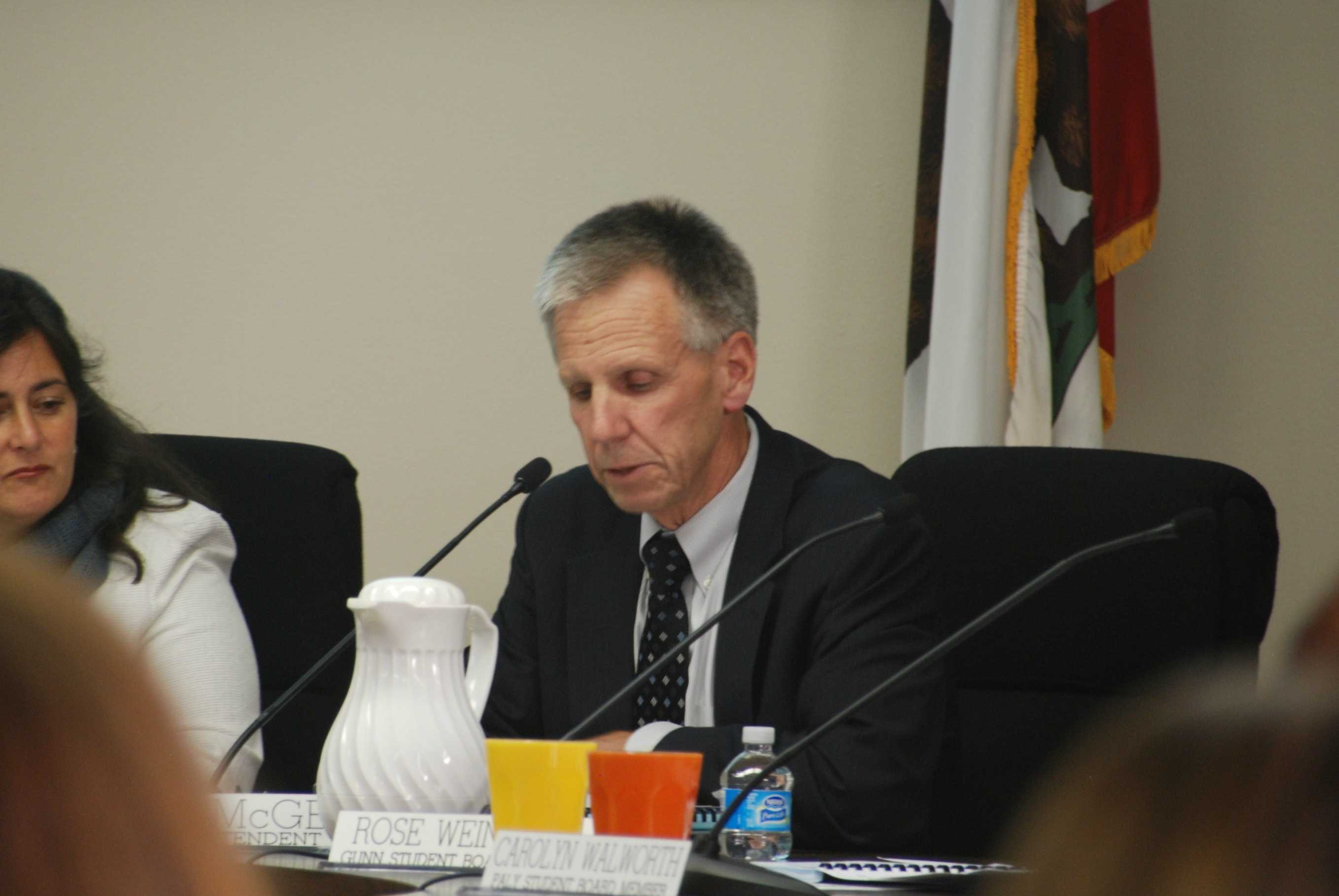 "Superintendent Max McGee speaks out to members of the PAUSD community and acknowledges their feelings. ""I understand the frustration, the anger and the disappointment of our students and our faculty who want to retain the current practice,"" McGee said. ""I am very sorry that we did not do our best job in this instance."" Photo by Jeanette Wong."
