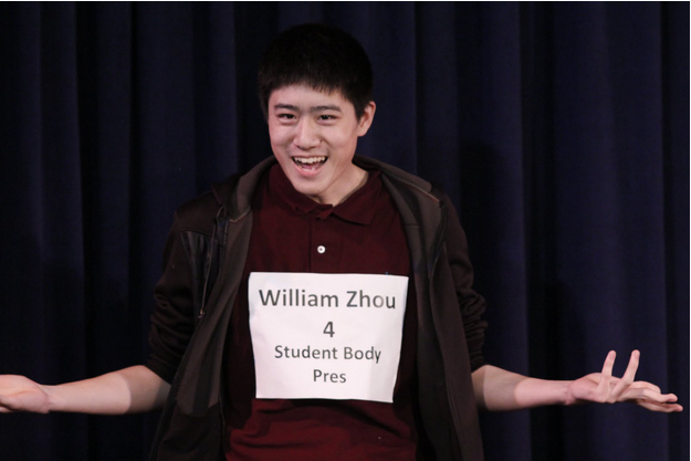 Newly elected ASB President and Junior William Zhou speaks at the ASB Town-hall debate session for his ASB presidential campaign. Palo Alto High School's ASB elections reached a record voter turnout of 67 percent. Photo by George Lu.