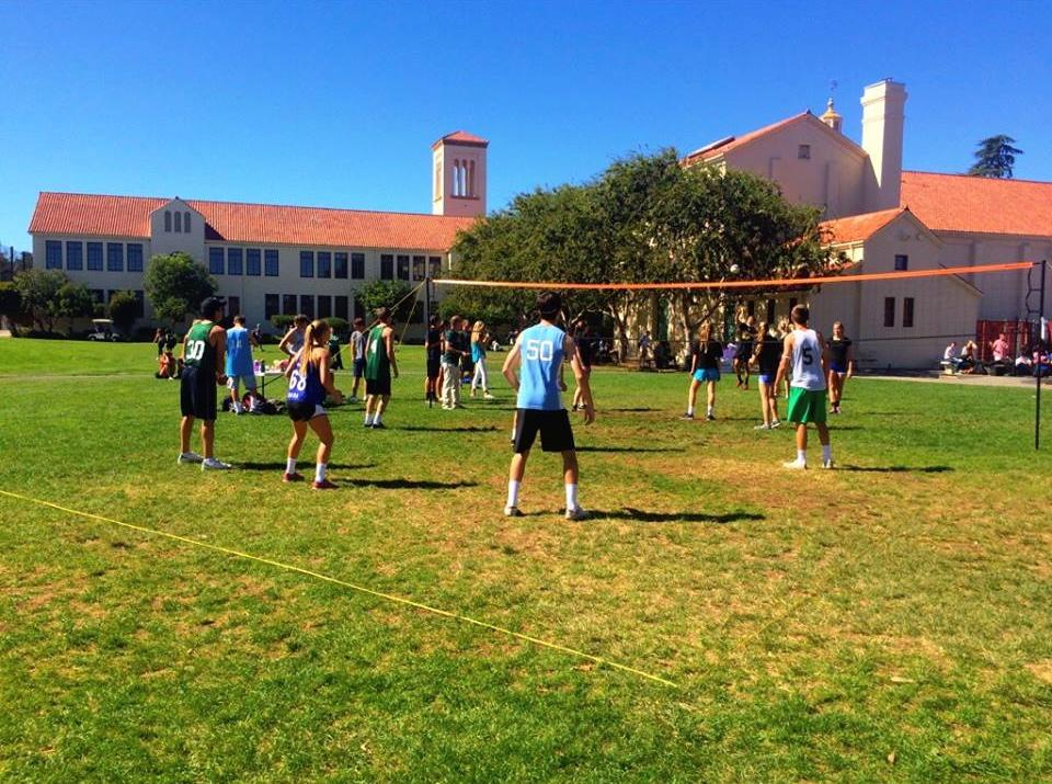 Teams compete against each other during the intramural volleyball tournament on the quad at lunch. Photo courtesy of Palo Alto High School Associated Student Body.
