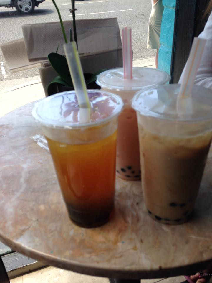 The boba, from left to right, mango boba no milk, strawberry boba with milk, peach boba with milk. Photo by Mary McNamara.