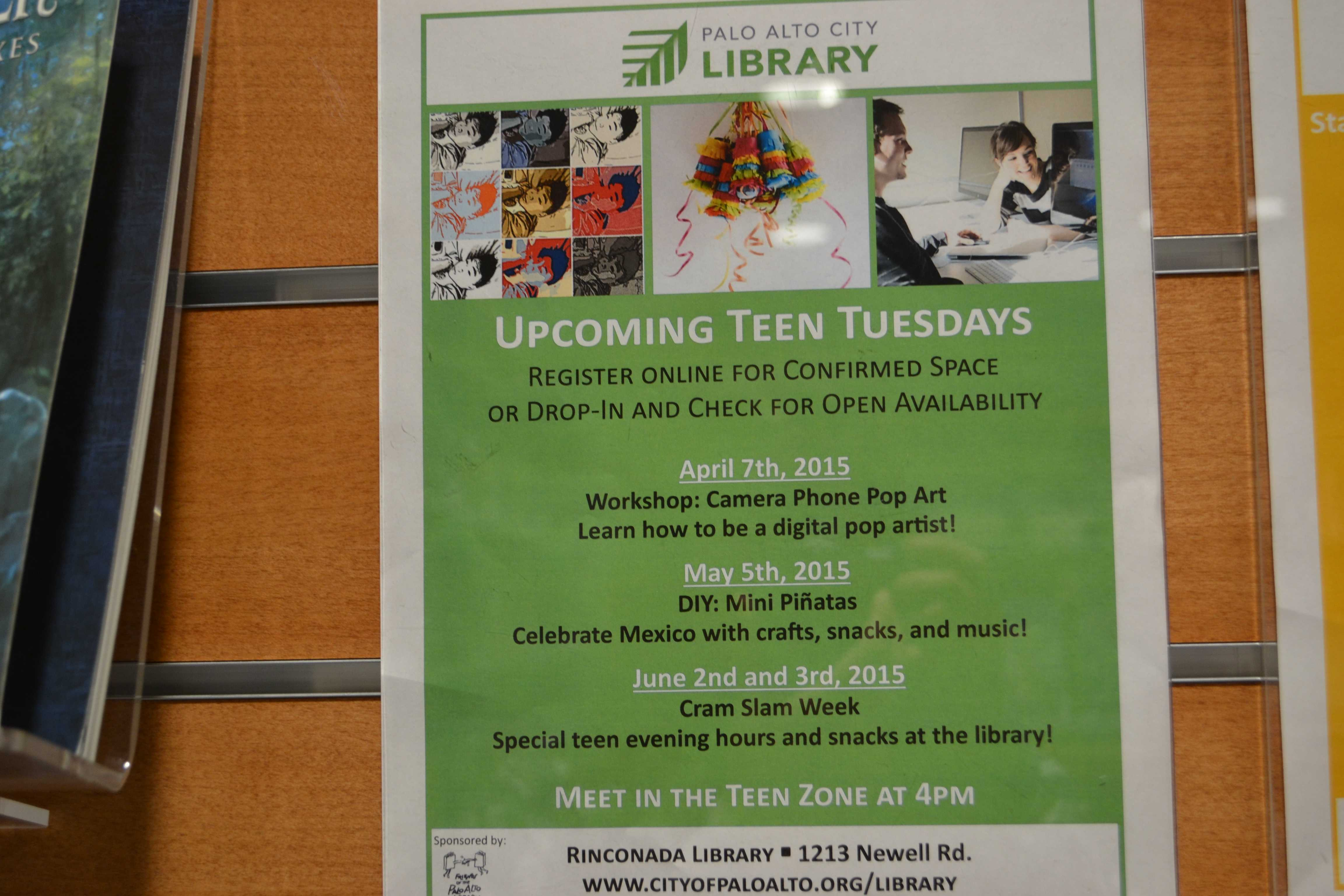 Teen Tuesday sign at the Mitchell park library advertising the upcoming events. Photo taken by Aisha Chabane
