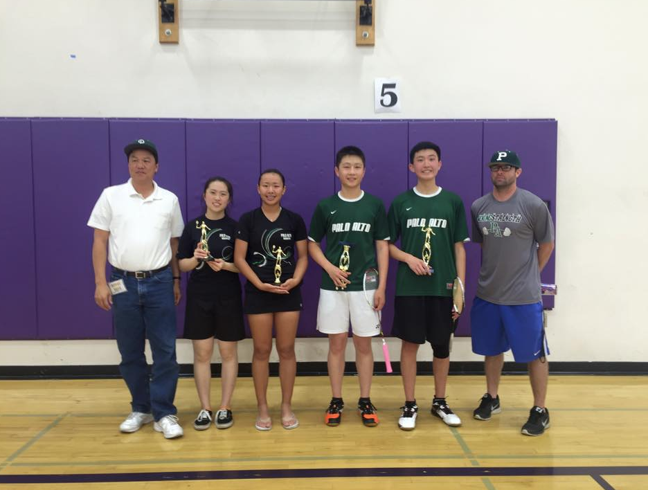 Freshman Jackie Cai, juniors Eric Chiang and James Wang. and senior Promise Lee pose for a picture with their coaches Arne Lim and Justin Halas after competing at Silicon Valley Athletic Leagues. They will be competing at Central Coast Selection playoffs tomorrow. Photo by
