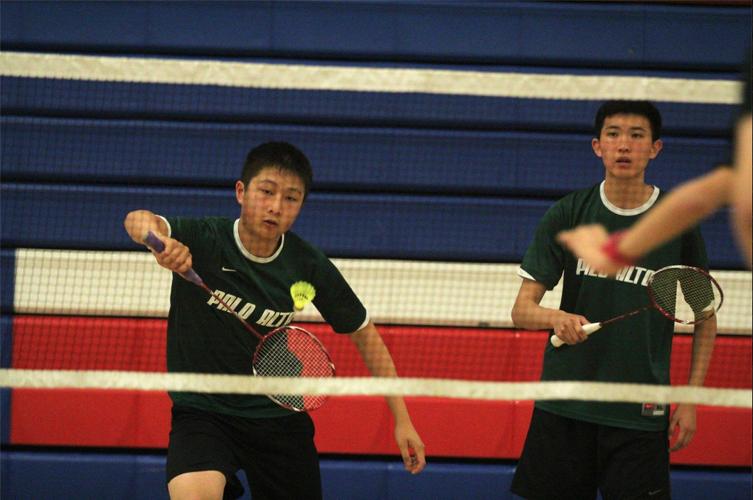 Juniors Eric Chiang and James Wang play against Evergreen Valley High School's Mason Jiang and Eric Jiang in boys' doubles. They later on placed second overall at Central Coast Selection.