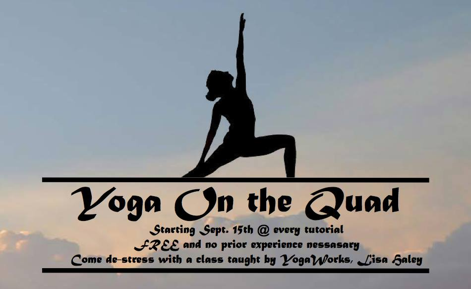 "A sign advertising the new event during tutorial where students are invited to participate in a yoga class on the quad called ""Yoga on the Quad."" Photo: ""Paly on the quad"" Facebook group."