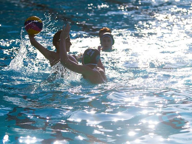 The Palo Alto High School boys' water polo team executes some drills at the Rengstorff Pool in Mountain View during practice. The team's first game is against Jesuit High School on Sept. 4 at the opponent's school in Davis.