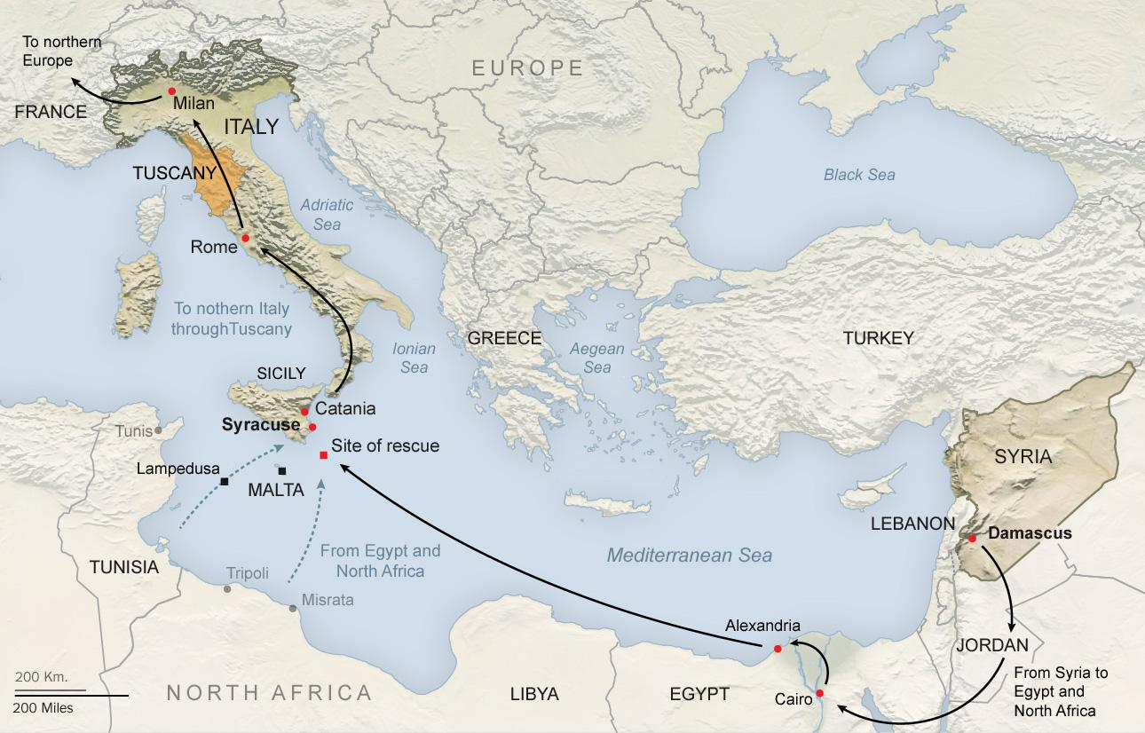 "Migrants travel from Greece, through the Balkans and Hungary, and north toward Western Europe, movement made possible by Europe's open borders,"" according to a New York Times article. http://www.nytimes.com/2013/11/30/world/middleeast/out-of-syria-into-a-european-maze.html?pagewanted=all . Graphic courtesy of The New York Times."