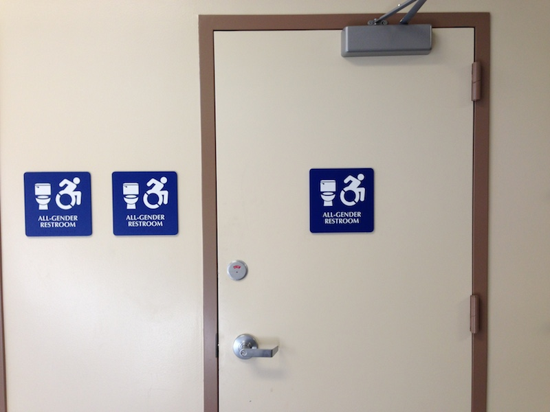 Gender neutral restrooms have been popping up around school campus to accommodate for the LGBTQ community, according to Assistant Principal Jerry Berkson. Photo by Daniel Li.