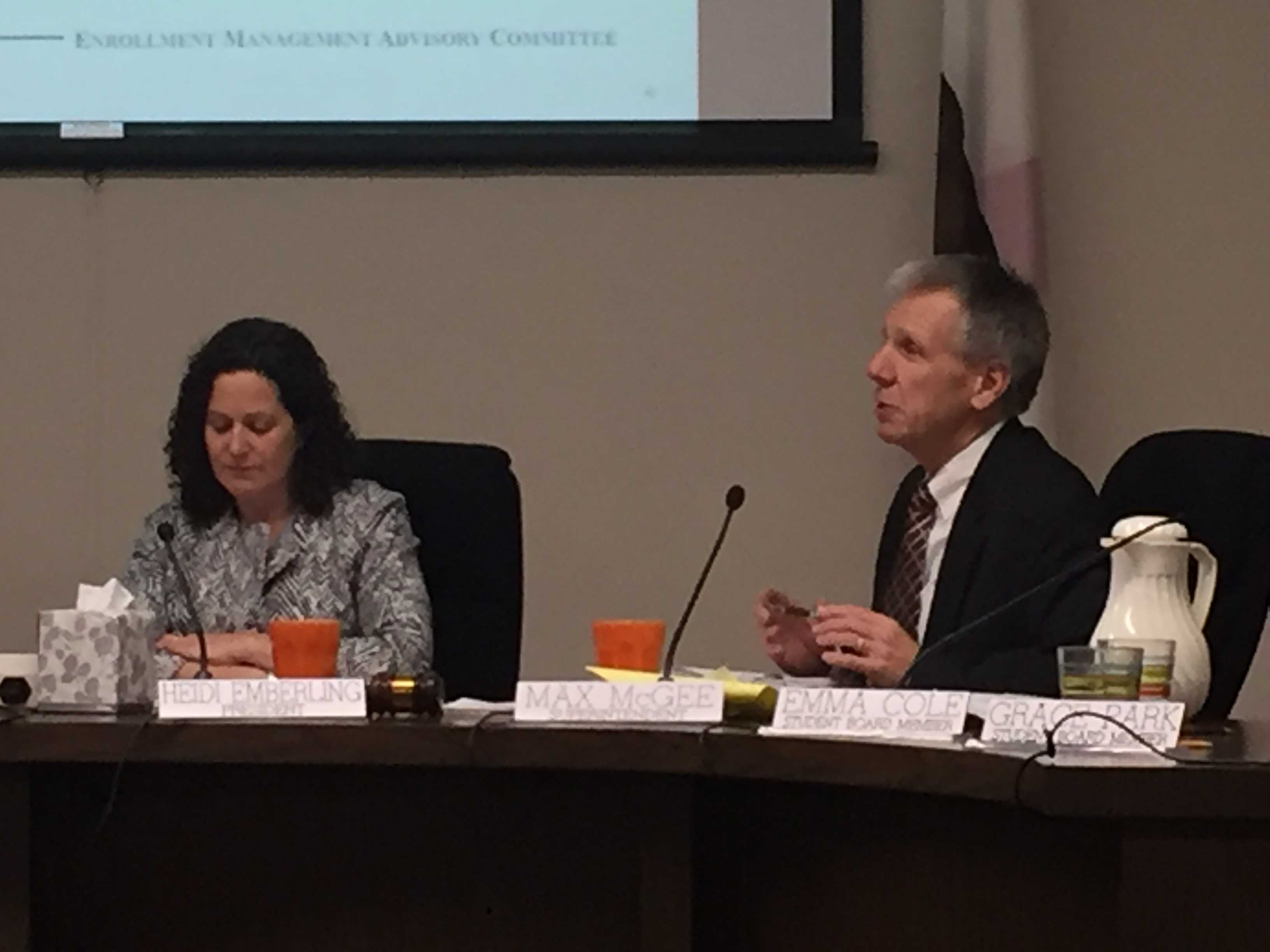Palo Alto Unified School District Supt. Max McGee adresses the PAUSD Board of Education on Tuesday Jan. 26. McGee emphasized his support for the creation of a new innovative high school at Cubberley to address the problem of overcrowding. Photo by Emma van der Veen.