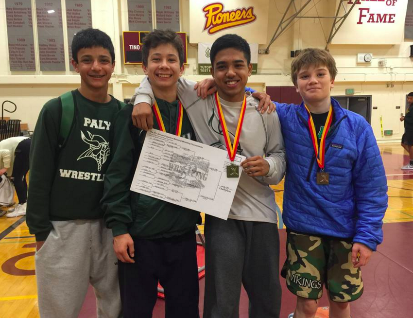 Sophomore Calvin Grewal, freshman [[]], junior Seth Goyal and freshman [[]] pose for a picture after placing at the