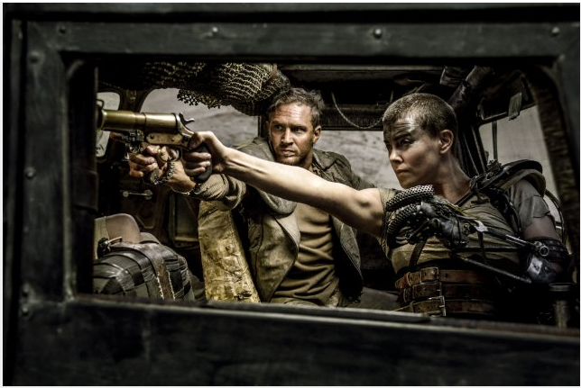 "Tom Hardy and Charlize Theron star in George Miller's action flick ""Mad Max: Fury Road."" The movie has been nominated for 10 Oscars, including Best Picture, Best Director, Best Cinematography Best Film Editing, Best Costume Design, Best Makeup and Hairstyling, Best Sound Mixing, Best Sound Editing, Best Visual Effects and Best Production Design"