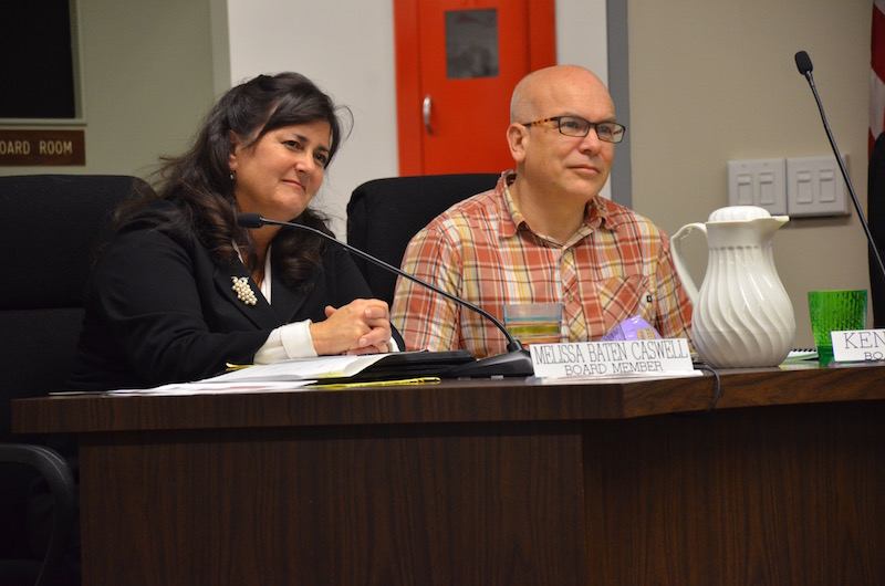 School board members Melissa Caswell and Ken Dauber listen to teachers from Addison Elementary during the open forum. The staff addressed how the donation would benefit students. Teachers hope the monetary funds will create more space on campus.