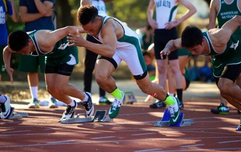 Senior Eli Givens bursts to the front during the 100-meters against Homestead at home on Thursday. Givens would claim first place, and the team would go on to win the meet. Photo by Cooper Lou