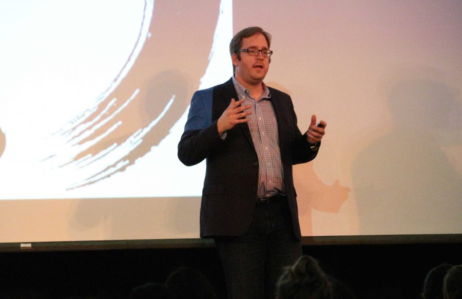 Stanford writing professor John Evans gives a TEDx talk at TEDxPaloAltoHighSchool on Feb. 9 in the Media Arts Center. Evans is the author of the memoir, Young Widower, and the poetry collection, The Consolations. Photo: Adele Bloch
