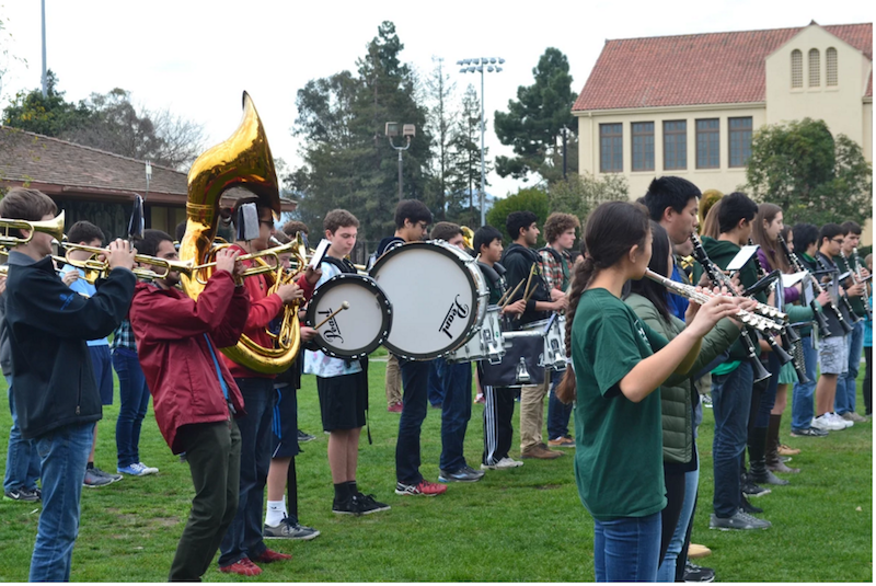 Paly Band preforms on the quad for Arts in Unusual places. Photo by Emilia Diaz-Magaloni