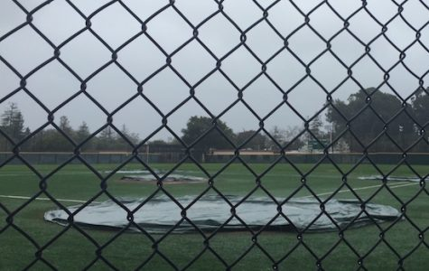 The Vikings' baseball team was forced to postpone the first home De Anza league game of the season on Friday, against Cupertino High School, because of harsh weather. There should be favorable baseball weather in the team's home game against Los Gatos. Photo by Noah Yuen.