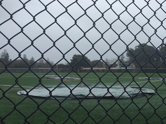 The Vikings' baseball team was forced to postpone the first home De Anza league game of the season on Friday, against Cupertino High School, because of harsh weather. The team is looking to schedule a rematch. Photo by Noah Yuen.