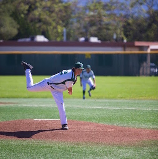 Senior Alec Olmsted throws a fastball to a Los Gatos batter during a De Anza League game on Friday at home. Olmstead pitched four innings and gave up three earned runs. Photo by Cooper Lou.